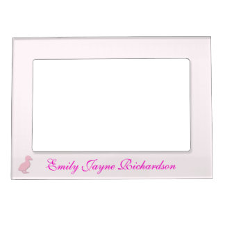 Cute pink baby duckling custom girls name magnetic photo frame