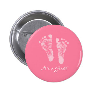 Cute Pink Baby Footprints Its a Girl Baby Shower 6 Cm Round Badge