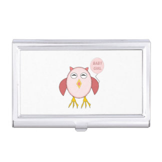Cute Pink Baby Girl Owl Business Card Holder