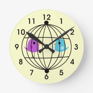 Cute Pink Bird Cage Wall Clock