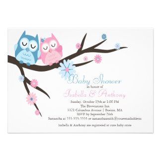 Cute Pink Blue in Love Owl Couple Baby Shower Personalized Invite