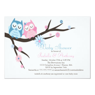 """Cute Pink & Blue in Love Owl Couple Baby Shower 4.5"""" X 6.25"""" Invitation Card"""