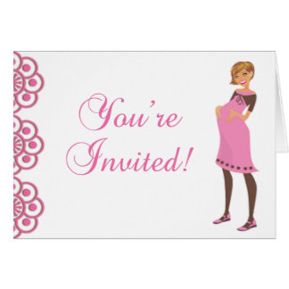 Cute Pink & Brown Girl Baby Shower Invite