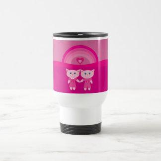 Cute Pink Cartoon Cats Rainbow & Hearts Custom Mug