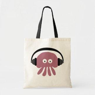 Cute Pink Cartoon Jellyfish DJ With Headphones Tote Bag
