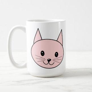 Cute Pink Cat Basic White Mug