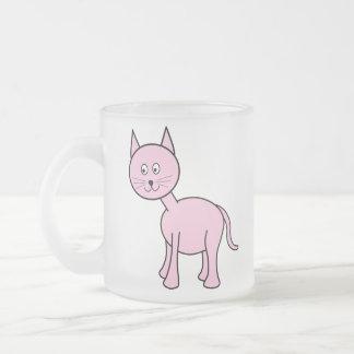 Cute Pink Cat Cartoon. Frosted Glass Mug