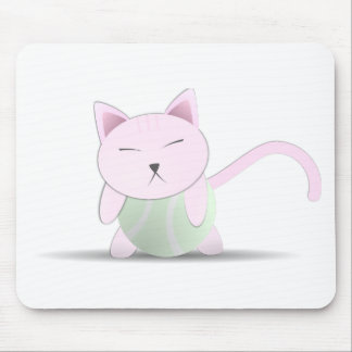 Cute Pink Cat on Tennis Ball Mouse Pad