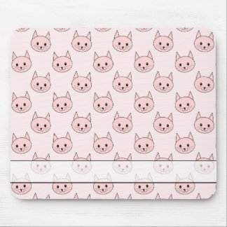 Cute Pink Cat Pattern Mouse Pad