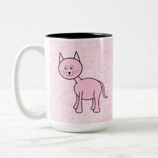 Cute Pink Cat. Pink Background. Cartoon. Two-Tone Mug