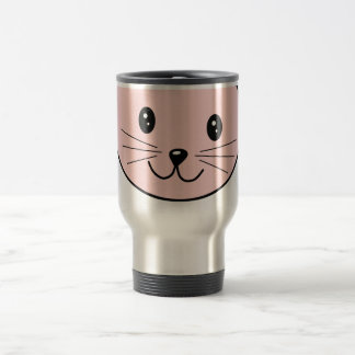 Cute Pink Cat Stainless Steel Travel Mug