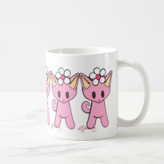 Cute Pink Cats With Daisies Coffee Mug