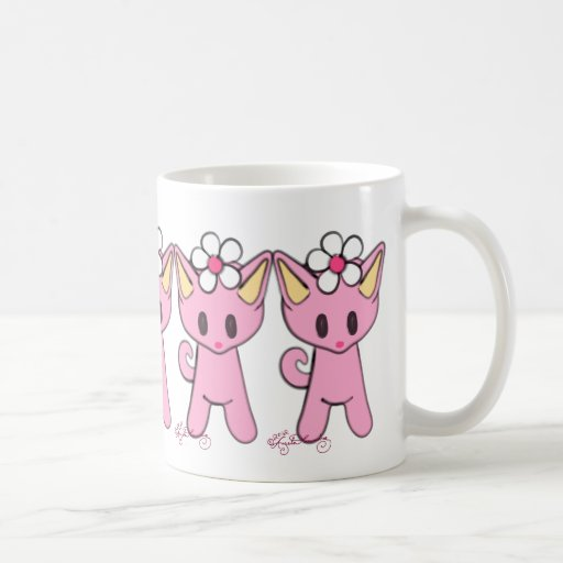 Cute Pink Cats With Daisies Coffee Mug