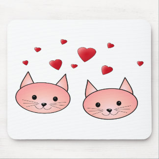 Cute Pink Cats with Hearts Mouse Pad
