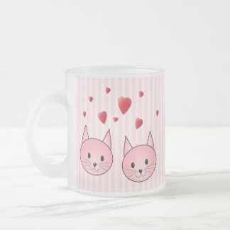 Cute Pink Cats, with Red Love Hearts. Frosted Glass Mug