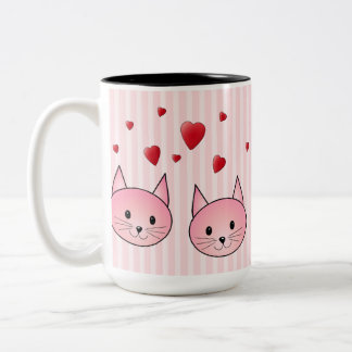 Cute Pink Cats, with Red Love Hearts. Two-Tone Coffee Mug