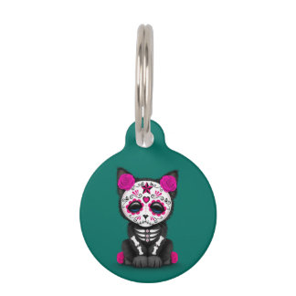 Cute Pink Day of the Dead Kitten Cat, teal blue Pet Tags