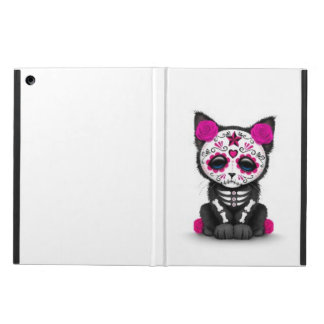 Cute Pink Day of the Dead Kitten Cat, white iPad Air Cover