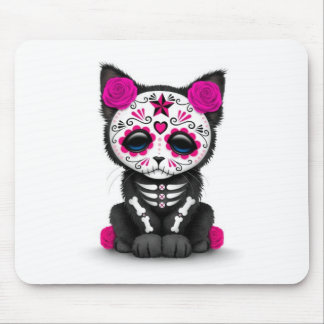 Cute Pink Day of the Dead Kitten Cat, white Mouse Pad