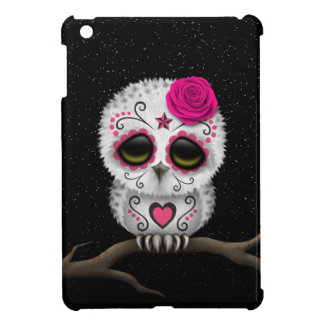 Cute Pink Day of the Dead Sugar Skull Owl Stars Cover For The iPad Mini