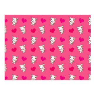 Cute pink dog hearts pattern postcard