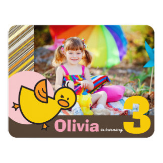 Cute Pink Duckies Ducks Kid Girl Birthday Invite