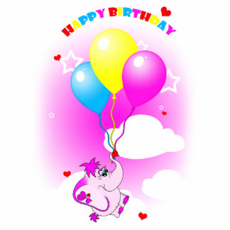 Cute Pink Elephant Happy Birthday Photo Magnet Cut Out