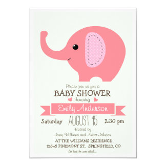 Cute Pink Elephant, Jungle Zoo Animal Baby Shower 13 Cm X 18 Cm Invitation Card