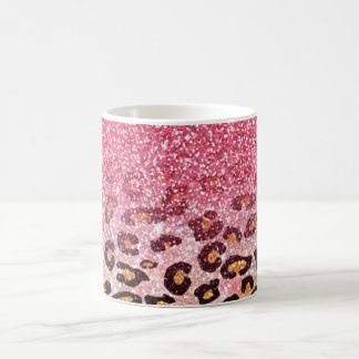 Cute pink faux glitter leopard animal print coffee mugs