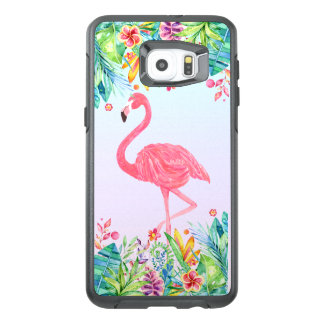 Cute Pink Flamingo & Tropical Flowers