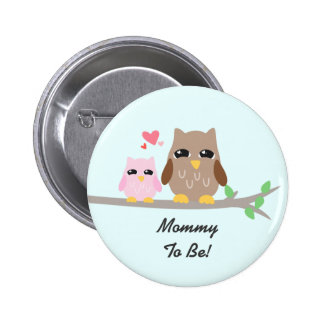 Cute Pink Girl Baby Shower Owl 6 Cm Round Badge