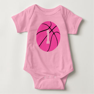 Cute Pink Girls Basketball Custom Baby Bodysuit