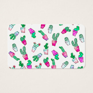 Cute pink green watercolour trendy cactus pattern business card