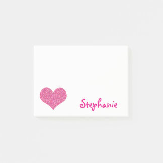 Cute Pink Heart Personalised Girly Name Post-it Notes