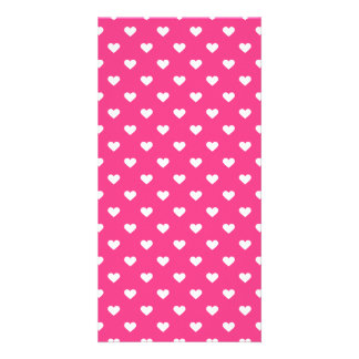 Cute Pink Hearts Pattern Customised Photo Card