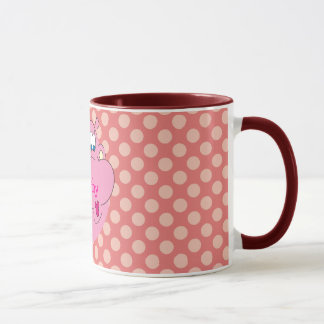 Cute Pink Hippo Personalized Name Polka Dots Mug