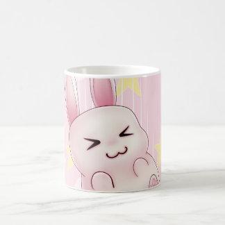 Cute pink Kawaii Bunny rabbit falling from stars Basic White Mug