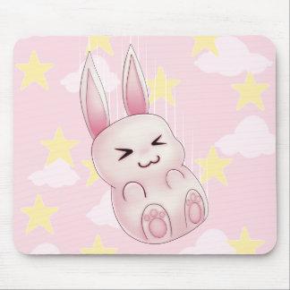 Cute pink Kawaii Bunny rabbit falling from stars Mouse Pad