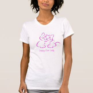 Cute Pink Kitty Cat - Crazy Cat Lady text T-shirts