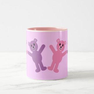 Cute Pink & Lilac Cartoon Teddy Bears Custom Coffee Mugs