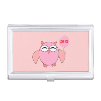 Cute Pink Love You Owl Business Card Holder