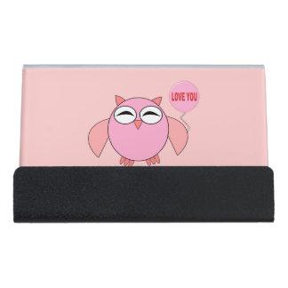 Cute Pink Love You Owl Desk Business Card Holder