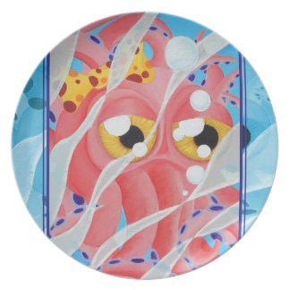 Cute Pink Octopus Painting Dinner Plates