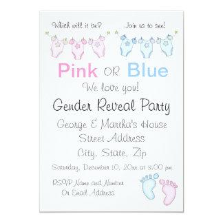 Cute Pink or Blue Gender Reveal Invitation