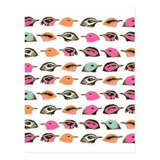 Cute Pink Orange Green Bird Pattern Postcard