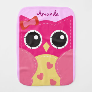 Cute Pink Owl Personalized Baby Burp Cloth