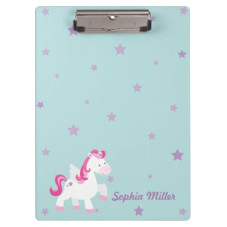 Cute Pink Personalized Magical Unicorn Clipboard