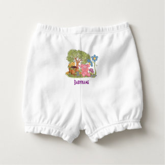 Cute Pink Pig Gardening Flowers Personalised Nappy Cover