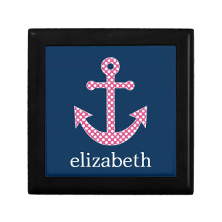 Cute Pink Polka Dot Anchor with Navy Custom Name Gift Box