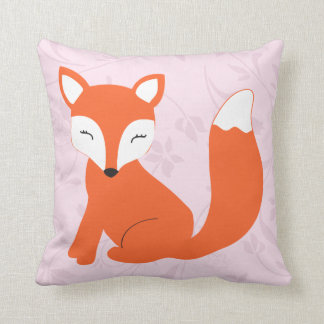 Cute Pink Purple Baby Fox Pillow